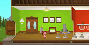 My favourite part of the old-style house I had on Lorme Rush ... love the cabinet, love the bonsai, love the lamp and the water sculpture. The piggy feeders used to be outside, obviously.
