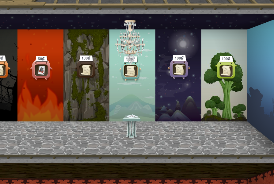 Come & Go Room (Glitchwidth, 6th Floor) - alternating wallpaper with teleportation scripts for sale in various display boxes