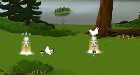 ahhhhhh chickens going to eat me!